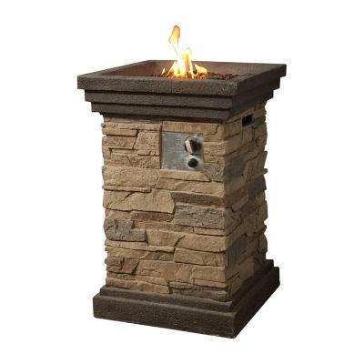 Peaktop Outdoor Slate Rock Square Column Gas Fire Pit