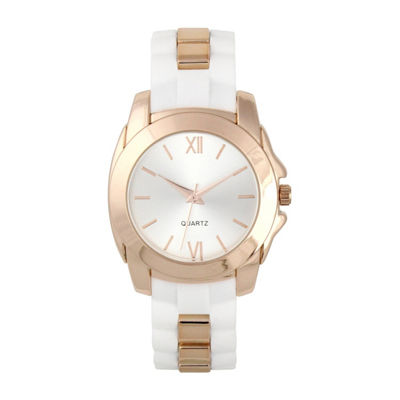 Mixit Womens White Strap Watch-Pt5472rgwt