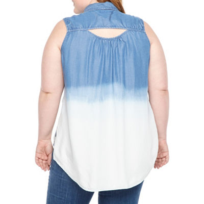 a.n.a Sleeveless Denim Dip Dye Shirt - Plus