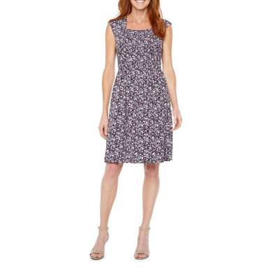 Perceptions Short Sleeve Floral Shift Dress