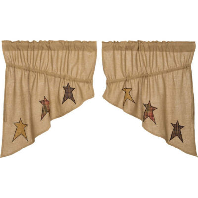 Primitive Window Stratton Burlap Applique Star Prairie Swag Pair