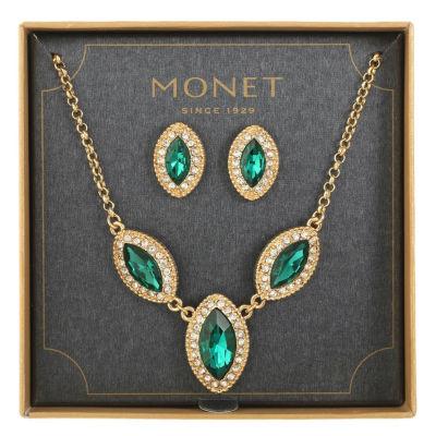 Monet Jewelry Womens Green Gold Tone 2-pc. Jewelry Set