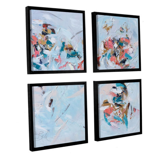 Brushstone Abstract Entwined 4-Piece Square Floater-Framed Gallery Wrapped Canvas Set