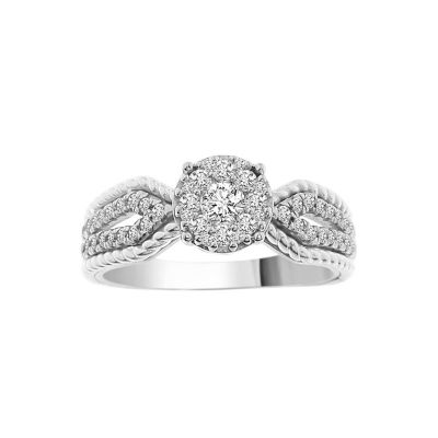 Womens 1/2 CT. T.W. White Diamond 14K White Gold Engagement Ring