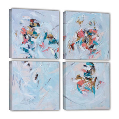 Brushstone Abstract Entwined 4-pc Square Gallery Wrapped Canvas Set
