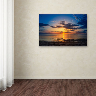 Trademark Fine Art PIPA Fine Art Sunset BreakwaterLighthouse Giclee Canvas Art
