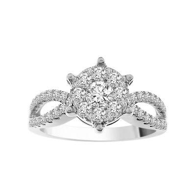 Womens 7/8 CT. T.W. Round White Diamond 14K Gold Engagement Ring