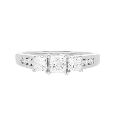 Love Lives Forever Womens 1 CT. T.W. White Diamond 14K Gold 3-Stone Engagement Ring