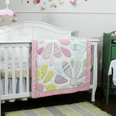 Nurture Butterflies & Daisies Cotton 3 Piece Nursery Bedding Set