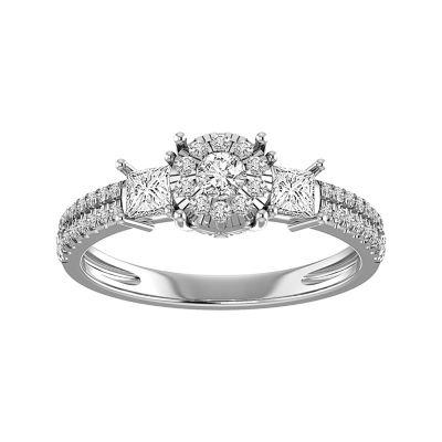 Womens 7/8 CT. T.W. White Diamond 14K White Gold Engagement Ring