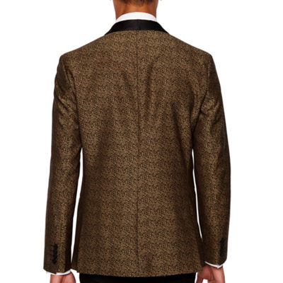 JF J.Ferrar Formal Stretch Gold Leopard Slim Fit Sport Coat
