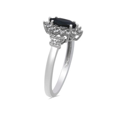 Womens Genuine Blue Sapphire 10K White Gold Cocktail Ring