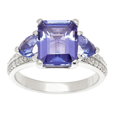 Womens Simulated Purple Tanzanite Cocktail Ring