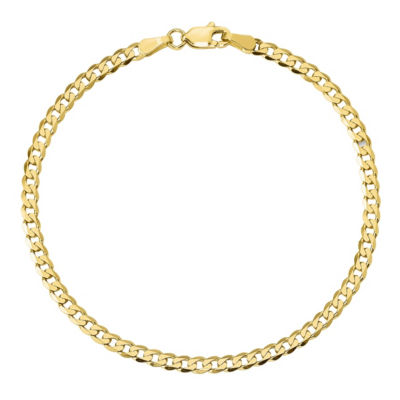 10K Gold 7 Inch Solid Curb Chain Bracelet