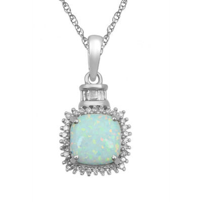 Womens White Opal 10K Gold Pendant Necklace
