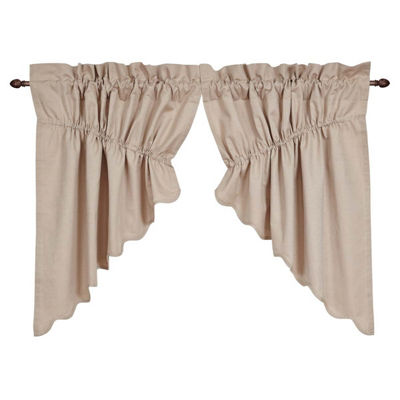 Farmhouse Window Charlotte Solid Natural Scalloped Prairie Swag Pair