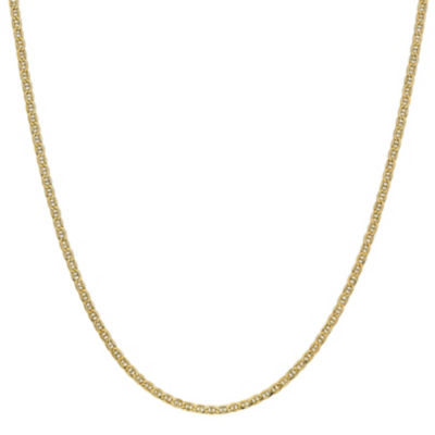 14K Gold 16 Inch Semisolid Anchor Chain Necklace