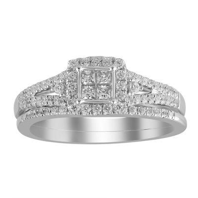 Womens 1/2 CT. T.W. White Diamond 14K White Gold Bridal Set
