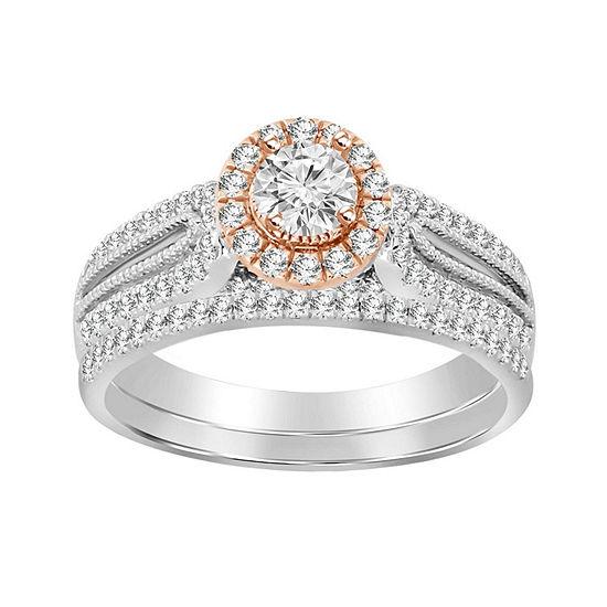 Womens 3/4 CT. T.W. Genuine White Diamond 14K Rose Gold 14K White Gold Bridal Set