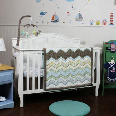 Nurture Cocoa Chevron Cotton 3 Piece Nursery Bedding Set