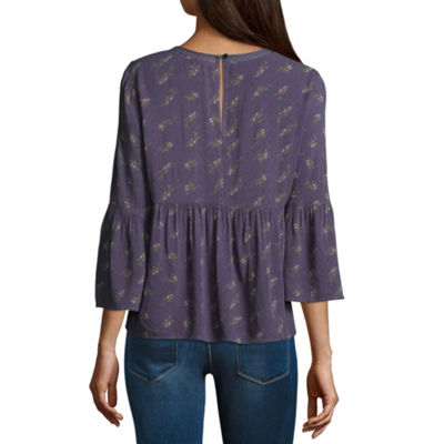 Arizona 3/4 Sleeve V Neck Woven Floral Blouse-Juniors