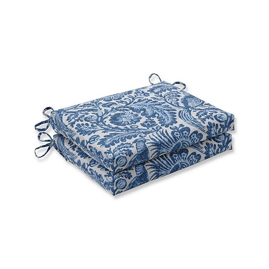 Pillow Perfect Set of 2 Tucker Resist Azure Squared Corners Patio Seat Cushion