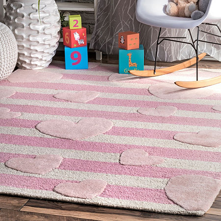 nuLoom Cochran Hearts Striped Wool Hand Tufted Handmade Rug, One Size , Pink