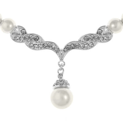 Monet Jewelry Womens White Simulated Pearl Silver Tone 2-pc. Jewelry Set