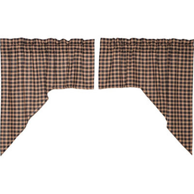Classic Country Window Bingham Star Plaid Swag Pair