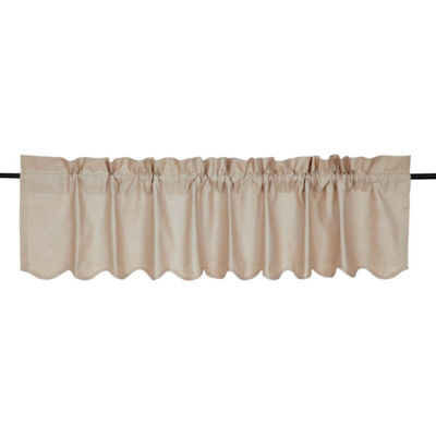Farmhouse Window Charlotte Solid Natural Scalloped Valance