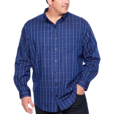 Van Heusen Flex Non-Iron Woven Long Sleeve Windowpane Button-Front Shirt-Big and Tall