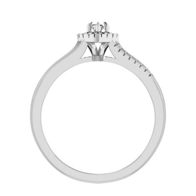 Womens 1/6 CT. T.W. White Diamond 10K White Gold Engagement Ring