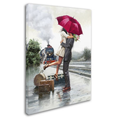 Trademark Fine Art The Macneil Studio Couple on Train Station Giclee Canvas Art