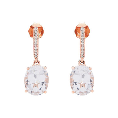 Lab Created White Sapphire 10K Rose Gold Drop Earrings