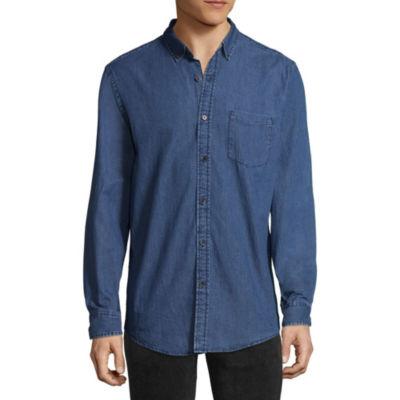 Arizona Mens Long Sleeve Button-Front Shirt