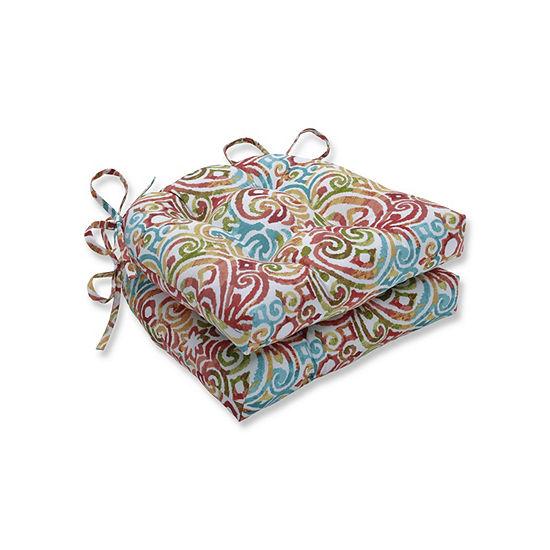 Pillow Perfect Set of 2 Corinthian Dapple Reversible Patio Seat Cushions
