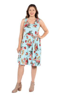 24Seven Comfort Apparel Nicole Green Floral Dress - Plus