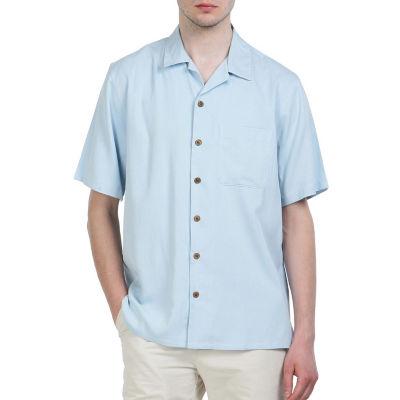 Sandals Cay Men's Small Checkered Pattern Silk Camp Shirt
