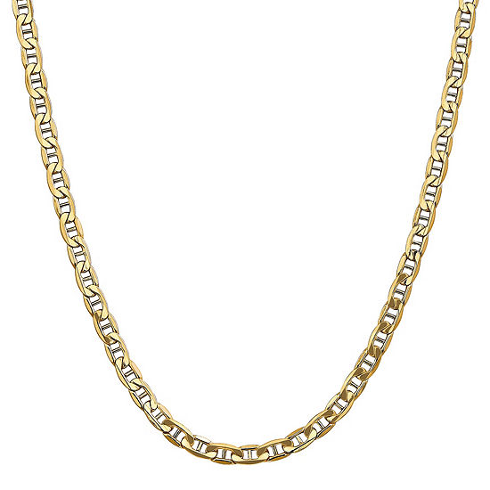 14k Gold 20 Inch Semisolid Anchor Chain Necklace