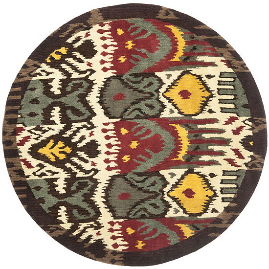 Safavieh Ikat Collection Frazier Floral Round AreaRug