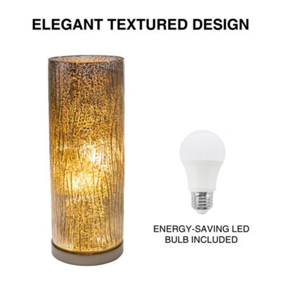 Lavish Home Glass Uplight Lamp with Tree Bark Pattern