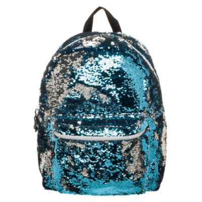 Blue & Silver  Reverse Sequins Backpack