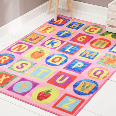 Eric Carle Elementary Alphabet Blocks Graphic/Print Rectangular Rug