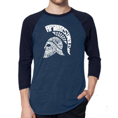 Los Angeles Pop Art Men's Raglan Baseball Word Art T-shirt - SPARTAN