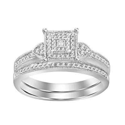 Womens 1/5 CT. T.W. White Diamond 10K White Gold Bridal Set