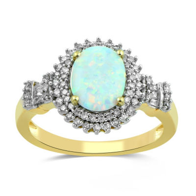 Womens Lab Created White Opal 10K Gold Cocktail Ring