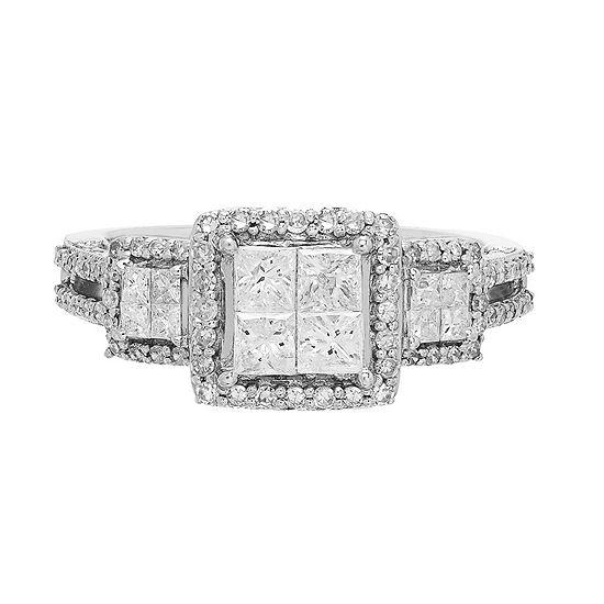 Love Lives Forever Womens 1 CT. T.W. Genuine White Diamond 10K Gold 3-Stone Engagement Ring