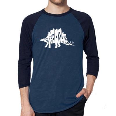 Los Angeles Pop Art Men's Raglan Baseball Word Art T-shirt - STEGOSAURUS