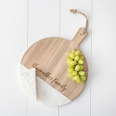 Cathy's Concepts Personalized Acacia And Marble Board Serving Tray