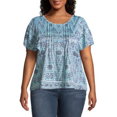 Unity World Wear Short Sleeve Flutter Shadow Stripe Blouse - Plus